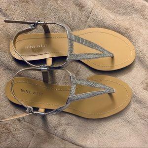 Nine West Metallic Silver Sandals